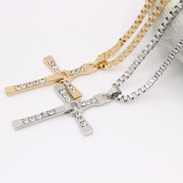 $enCountryForm.capitalKeyWord Australia - Crystal Cross Mens Womens Necklace Fashion Luxury Gold Plated Pendant Chain Necklace Silver Boys Gril Designer Jewelry Gift Necklaces