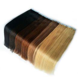 Vente en gros Haute Qualité 100% Ruban Remy Human Hair Extensions 40 Pcs bande colorée sur l'extension des cheveux Trame de peau de la colle sur cheveux