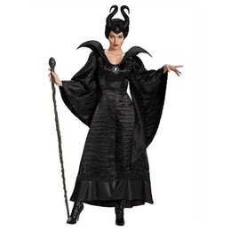 Maleficent Movie Costumes UK - Halloween Women Black Sleeping Beauty Witch Queen Maleficent Costumes Carnival Party Cosplay Fancy Dress M-3XL