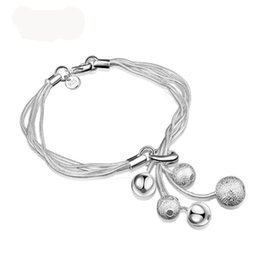 Toggle Pendants NZ - Hot Sells high quality 925 Silver Snake Chain Bracelet Lobster Toggle-clasps silver ball pendant bracelet new style bangle