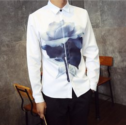 Long goLd downs online shopping - Spring Autumn Men s Wear Long Sleeved Shirt Casual White Pattern Print Shirt Man s Slim Shirt