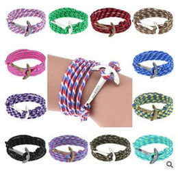 Woven Wrap Anchors NZ - Anchor bracelets navy wind multi-layer hand wrapping bracelet hand woven bracelets red green yellow many colors 443