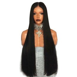 blue synthetic hair UK - Free shipping Silk Straight Wigs Heat Resistant Fiber Hair Natural Black brown burgundy color Synthetic Lace Front Wig For Women