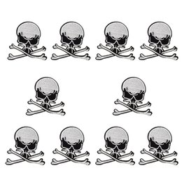 $enCountryForm.capitalKeyWord UK - 10 PCS Skull Patch Badges for Punk Clothing Ironing on Applique Men Sweater Stripe Sewing Accessories Embroidery Patches for Trousers Jacket