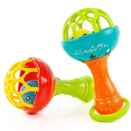 Wholesale Plastic Baby Rattles Australia - Baby Rattles toy Intelligence Grasping Gums Plastic Hand Bell Rattle Funny Educational Mobiles Toys Birthday Gifts WJ482