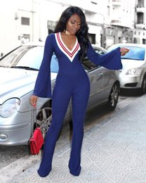 1695c9839feb Bell Bottom jumpsuit online shopping - Women Flares Jumpsuit long sleeve  Flared Rompers Deep V neck
