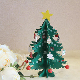 noel christmas ornament 2019 - 3D DIY Cartoon Wooden Christmas Tree Decorations For Home Noel New Year Gifts Ornament Table Desk Party Wedding Ornament
