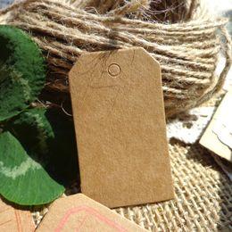 Wholesale Apparel Hang Tags UK - DIY Apparel Sewing Fabric Garment Tags Wholesale 500pcs Mini Kraft Blank Hang Tag 3x5cm Hemp String Included Paper Wedding Party Cards Retro