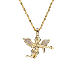 $enCountryForm.capitalKeyWord UK - Top Quality Hot Jewelry Zircon Gold Silver Cute Angel Baby Carry Gun Stuff Pendant Necklace Rope Chain for Men Women