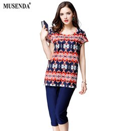 95a6eb55022 MUSENDA Plus Size Women Red Royal Blue Patchwork Print Tops Mid Elastic  Calf-Length Pencil Pants 2017 Summer Lady Two Piece Sets