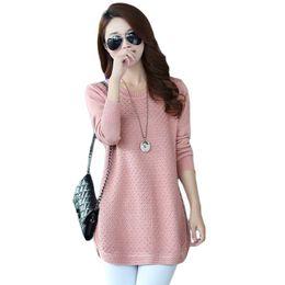 ed61d30db Mulheres Camisolas Vestido Pullovers 2018 Novo Inverno Quente Longo Camisola  de Malha Malhas Poncho Túnicas Rosa Preto Azul Plus Size CM304