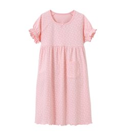 Discount girls cotton nightdresses - girls dressing gown long nightgown cotton casual loose nightdress kids pajamas children sleepwear summer home dress with