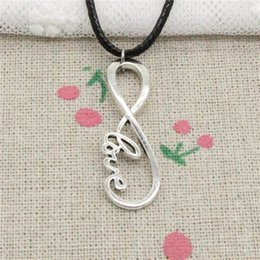 $enCountryForm.capitalKeyWord NZ - New Fashion Tibetan Silver Pendant infinity love connector 39*15mm Necklace Choker Charm Black Leather Cord Handmade Jewelry