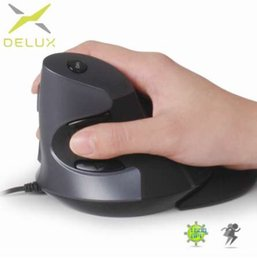 mouse vertical Canada - Delux M618 Ergonomic Office Vertical Mouse 6 Buttons 600 1000 1600 DPI Optical Right Hand Mice with Wrist mat For PC Laptop