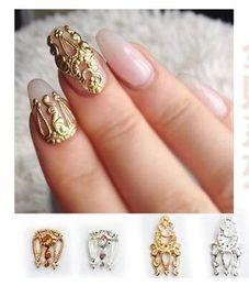 $enCountryForm.capitalKeyWord Australia - 10PCS Lot Crystal Nails Art Decoration Manicure Rhinestone Retro Hollowed Nail Drills Rhinestone Stud Spike Nail Stickers Accessories