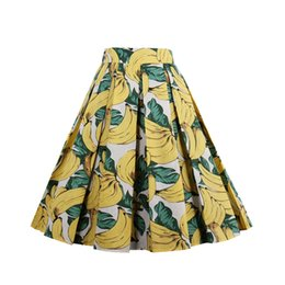 China Fashion Women Vintage Swing Skirts Banana Leaf Pineapple Print S~2XL Retro Skirts Zipper 100%Cotton Casual Skirts cheap banana balls suppliers