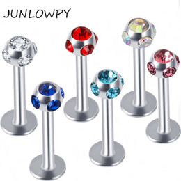 Lip Piercing Wholesale NZ - Multi Crystal Stainless Steel Piercing Jewelry Body Labret Jewelry Lip Ring Piercing Stud Mix 10 Colors 100pcs lot