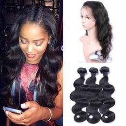brazilian virgin hair body wave frontal 2019 - Indian Body Wave 360 Lace Frontal Closure With Bundles Virgin Human Hair Weaves 8-30inch Shedding Free cheap brazilian v