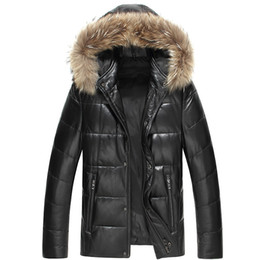 hooded outwear mens UK - Mens Winter Down Coats Genuine Leather Down Jacket Fur Hoodies Snow Duck Down Parkas Warm Thick Outwear Snow Tops Waterproof