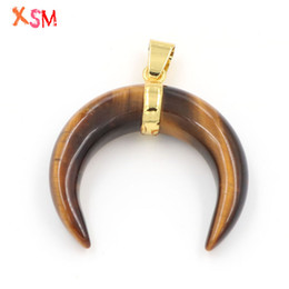 $enCountryForm.capitalKeyWord Australia - xinshangmie Unique Chakra Bull Horn Pendants Natural Tiger Eye Stone Crescent Moon Reiki Healing Pendants Women Charm Jewellery