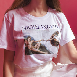 Discount vintage painting shirt - 2018 Vogue Women Summer Tops Short Sleeved Cotton Female T shirts Classic Michelangelo Oil Painting Vintage T shirt Wome