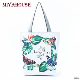 $enCountryForm.capitalKeyWord Canada - Miyahouse Floral Butterfly Print Women Shoulder Bag Summer Beach Bags Female Canvas Tote Handbags New Design Casual Shopping Bag