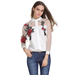 7e6301fba1f 2018 NewTulles See-through Blouse Women Floral Embroidery Lapel Long Sleeve Summer  Blouses Plus Size White Black Blue Tops