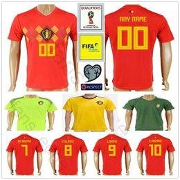 8f0fdb3d968 2018 World Cup Belgium Short Sleeve Soccer Jerseys Home Red LUKAKU FELLAINI  E.HAZARD KOMPANY DE BRUYNE Belgian Soccer Shirt Football Uniform
