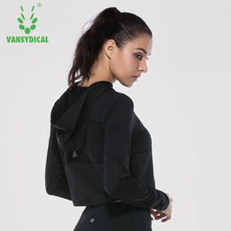 Discount sexy gym clothes - VANSYDICAL Women Jacket Sports Running Yoga Sportswear Fitness Exercise Gym Sexy Jacket Run Clothing Long Sleeve Tops