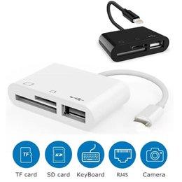Venta al por mayor de 3 en 1 relámpago al cable del adaptador del lector de tarjetas del USB de TF SD para el negro blanco del iPad del iPhone