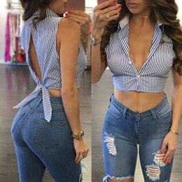 $enCountryForm.capitalKeyWord Canada - Sexy Womens Striped Sleeveless Blouse Vest Casual Lady Top Shirt Blouse Blue Summer Costume