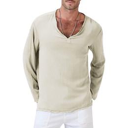 China Man T-shirts V-Neck Men Clothing Solid Color Linen Cotton Mens Short Sleeve Tops Plus S-4XL cheap linen cotton short sleeve shirt suppliers