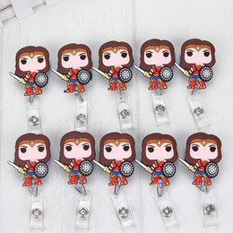 Wholesale 10 Silica gel Wonder Women Cute Cartoon Retractable Badge Reel Exihibiton ID Name Card Badge Holder Office Supplies