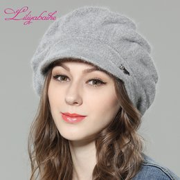 Discount angora hats - LILIYABAIHE NEW Style Women Winter hat brim hat knitted wool angora Loose and comfortable cap Double warm