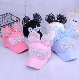 b24515c9ee5 10 styles cute summer baby rabbit ears sun hat newborn adjustable net hats  baby big bow baseball cap with pearl decor