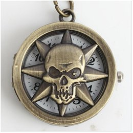 2018 skull pirate watch (4062) New Vintage pirate skull Quartz Pocket Watch Necklace Pendant Watch 12pcs lot, free ship, skull pirate watch on sale
