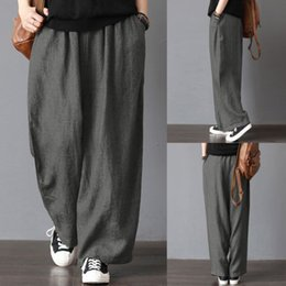 77e30dbae34 Men Casual Loose Wide Leg Pants Cotton Linen Casual Bloomers Trousers Harem Plus  Size Clothing
