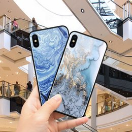 Wholesale New tempered glass mobile phone shell TPU case marble painted for iphonex plus mobile phone shell by DHL