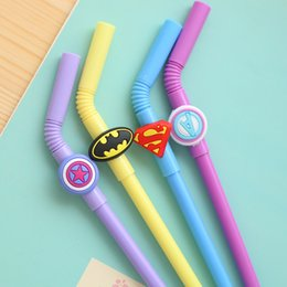 Stationery Australia - 4 Pcs Creative straw Gel Pen Hero Logo Black Gel-lnk pen Kawaii Writing Stationery School office Student Escolar Papelaria Gifts