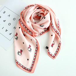 $enCountryForm.capitalKeyWord NZ - super cute dog cartoon digital print fashion new faux silk scarf summer spring small necktie super smooth soft scarf