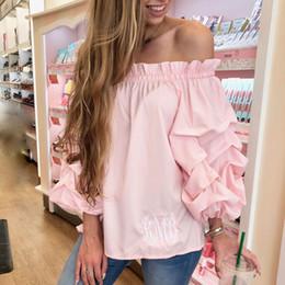 de8909dc603d52 Womens Long Sleeve Off Shoulder Tops Blouses Summer Beach Ladies Casual  Ruffles Loose Blouse Top Shirts 2018