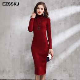 5933c5dbcca2 Abito rosso maxi maglione online-2018 Autunno Inverno donne maglione abito  dolcevita lavorato a maglia