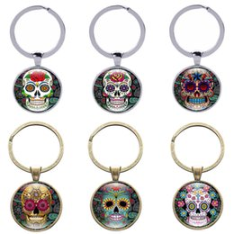 Discount glass head man - Sugar Skull Keychain Vintage Candy Skeleton Head Gothic Style Keyrings Crystal Domed Glass Cabochon Gifts Women Jewelry