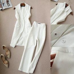 korean two piece dresses woman 2019 - Fashion spring new Korean version of the vest two sets of tide paragraph vest wide leg pants suit nine pants autumn Set