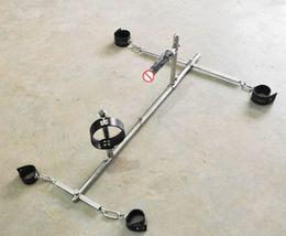 sex slave dog collars 2019 - 2018 Unisex Stainless Steel Bondage frame dog slaves BDSM devices sets handcuffs shackles ankle cuffs neck collar dildo