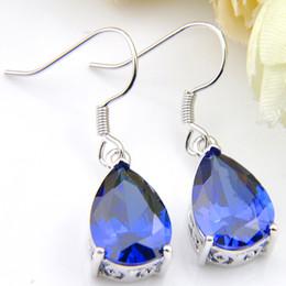 925 Dangling Earrings Canada - Wholesale 6 Pairs Luckyshine Women Zircon Blue Dangle Earring Fashion Wedding Jewelry Earring 925 Sterling Silver Drop Earrings