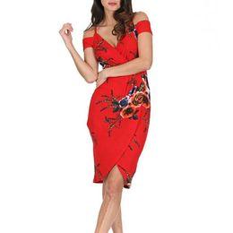 Red Dress V Neck Straps Australia - Sexy Straps Off Shoulder Backless Plowers Print Irregular Beach Summer Dress Women 2019 V Neck Bodycon Red Party Midi Dresses