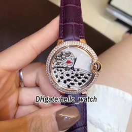 Chinese  Cheap New Conch Dial Diamond Leopard Face 36mm Swiss Quartz Luxury Lady Watch Rose Gold Case Diamond Bezel Leather Strap Womens Watches manufacturers