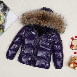 Girls french online shopping - ME1 kid Boys girls waterproof real raccoon fur collar jacket outwear winter french warm snow suit coat anorak children parka