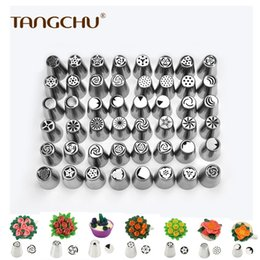 Kitchen Decorators NZ - 48PCS SET Professional Baking Russian Stainless Steel Icing Piping Nozzles Tips as Pastry Cake Decorating Tools for Kitchen DIY